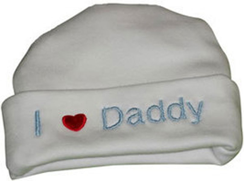 """Preemie & Newborn  """"I love Daddy"""" White Hat with Blue Embroidery"""