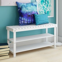 Hallway Bench 2 Tier Storage 12 Pairs of Shoes Shelves and Seat Wood White - $86.81