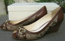 Coach Stella Walnut Brown Signature C Open Toe Wedges Shoes Sz 7.5NIB! - $89.99
