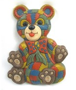 Vintage Patchwork Stitch Teddy Bear Wall Plaque Nursery Decor Foam Craft... - $10.88