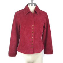 Coldwater Creek Womens Suede Jacket Size Small Red Snap Button Lining Le... - $19.80