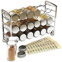 DecoBros Spice Rack Stand Holder With 18 Bottles 48 Labels, Steel Chrome... - $33.86