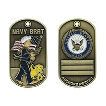 "NAVY BRAT 2"" DOG TAG ANCHORS AWEIGH CHALLENGE COIN - $18.04"