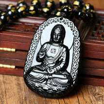 Black Natural A Obsidian Carved Buddha Pendant Rope with Chain - Random design image 7