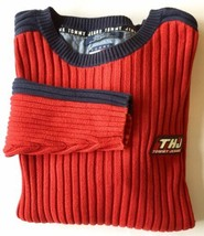 Tommy Hilfiger Jeans Men's Ribbed Sweater Red Blue Medium Cotton - $29.92