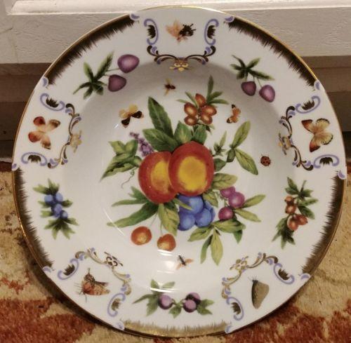 "I.GODINGER & CO. Yorkshire Pattern Soup Bowl 8.5""  Fruit Butterfly Bee Gold"