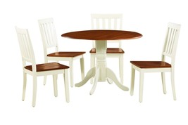 5 PIECE ROUND DINETTE KITCHEN TABLE SET WITH 4 PLAIN WOOD SEAT CHAIRS - $460.02
