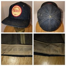 VTG S&DS 1977 USA Denim Hat Crowell Cap Co Snapback Safety Award 70s West Texas - $712.45