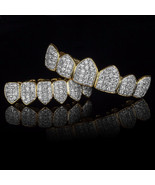 18K Gold & Silver Plated High Quality CZ Top & Bottom GRILLZ Mouth Teeth... - $49.49