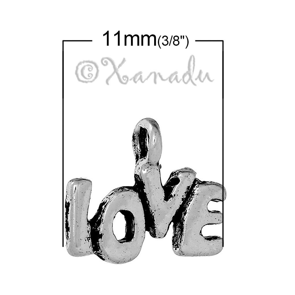 Primary image for Love Charms - Wholesale Antiqued Silver Plated Pendants C0032 - 20, 50 Or 100PCs