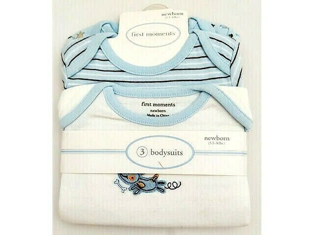 First Moments Bodysuits, 3 Pack, Newborn, Perfect for a Baby Boy