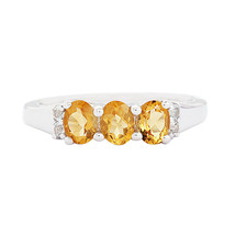 925 Sterling Silver Oval Cut Citrine Gemstone Three Stone Women Engageme... - $17.17