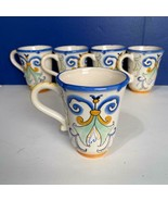 "5 Fitz and Floyd Ricamo 16 OZ Decorative 5.25"" Coffee Cups Farmhouse - $49.49"