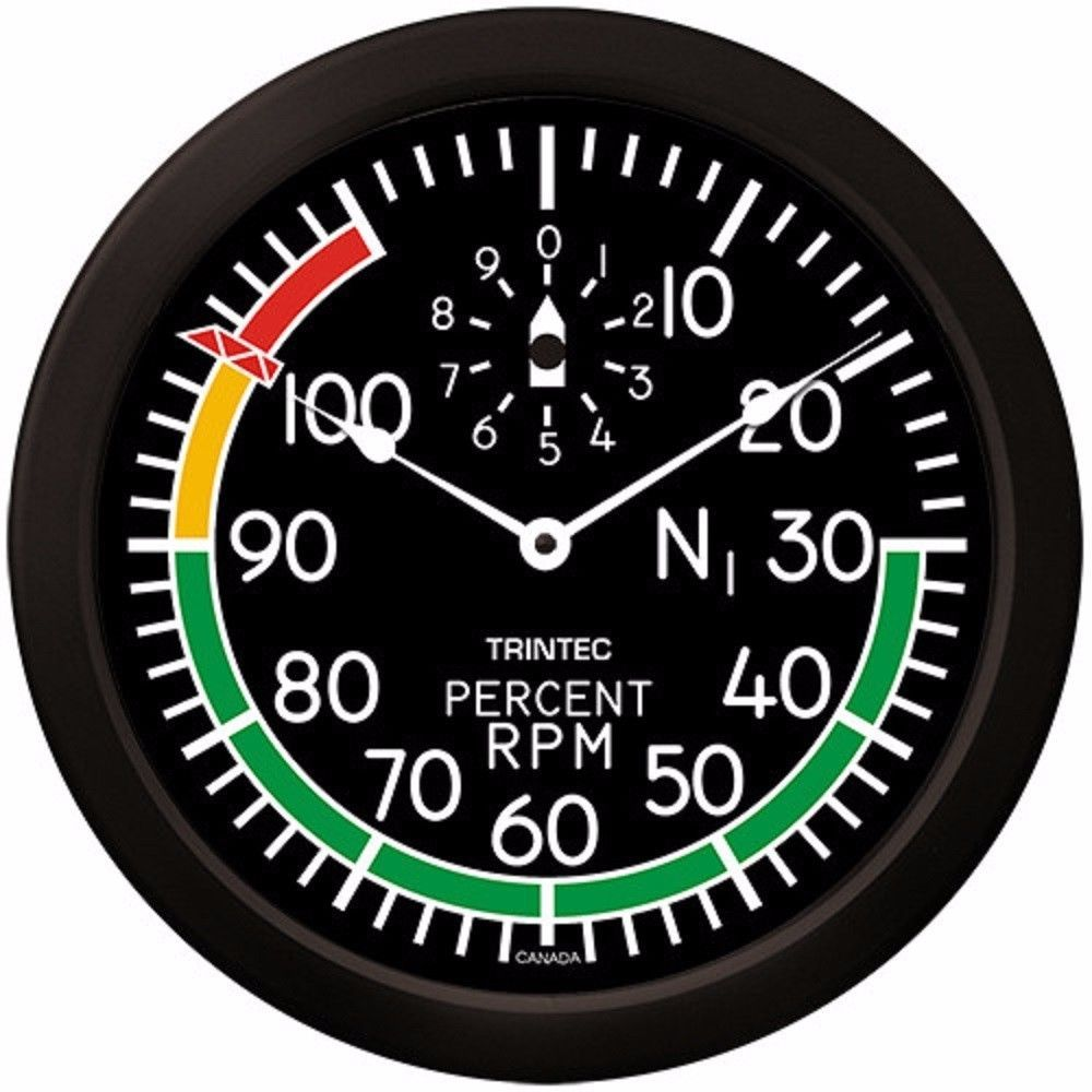 "Trintec Massive 14"" Aviation Modern Percent RPM Wall Clock 2067-14 Aviatrix"