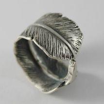 925 Silber Ring Brüniert Bandeau Geformt Feder Made in Italy image 3