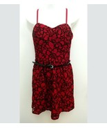 Lily Rose Womens Jr Large Dress Party Red Black Lace Spaghetti Strap Bel... - $16.99