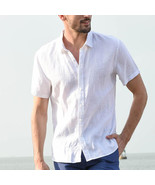 Men Casual Short Sleeves Shirt Concise Solid Color Shirt green_L - $25.20