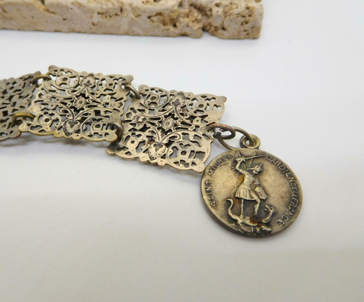 Vintage French Silver Filigree Mont St Michel Charm Panel Bracelet U36 image 5