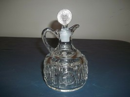 Vintage Fostoria Coin Glass Clear Large Cruet With Stopper Excellent Con... - $29.69