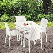 Furgle Patio Dining Sets,5 Piece Outdoor Modern Simple Table and 4 Stack... - €280,66 EUR
