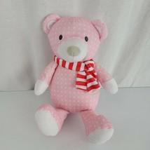 "Manhattan Toy Pattern Plush Sugar Plum Bear 12"" Pink Xmas Scarf Stuffed ... - $39.59"
