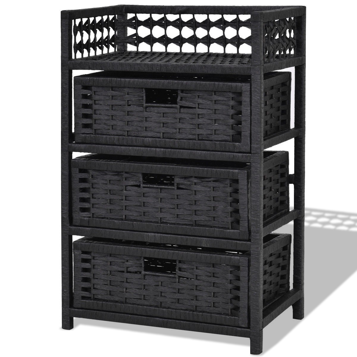 3 Drawers Wicker Baskets Storage Chest Rack-Black ...
