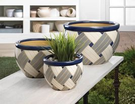 Multi-Color Geo Print Ceramic Planter Trio - $69.95