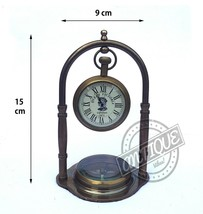 Antique Design Mantel Clock & Compass Maritime Royal Decor Ancient Shelf Clocks - $35.05