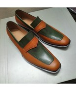Two Tone Hand Painted Square Toe Leather Moccasin Loafers - $159.97 - $169.97
