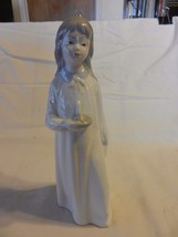 Porcelans Jango Girl with Candle Figurine, Hand Painted Made in Spain - $37.12