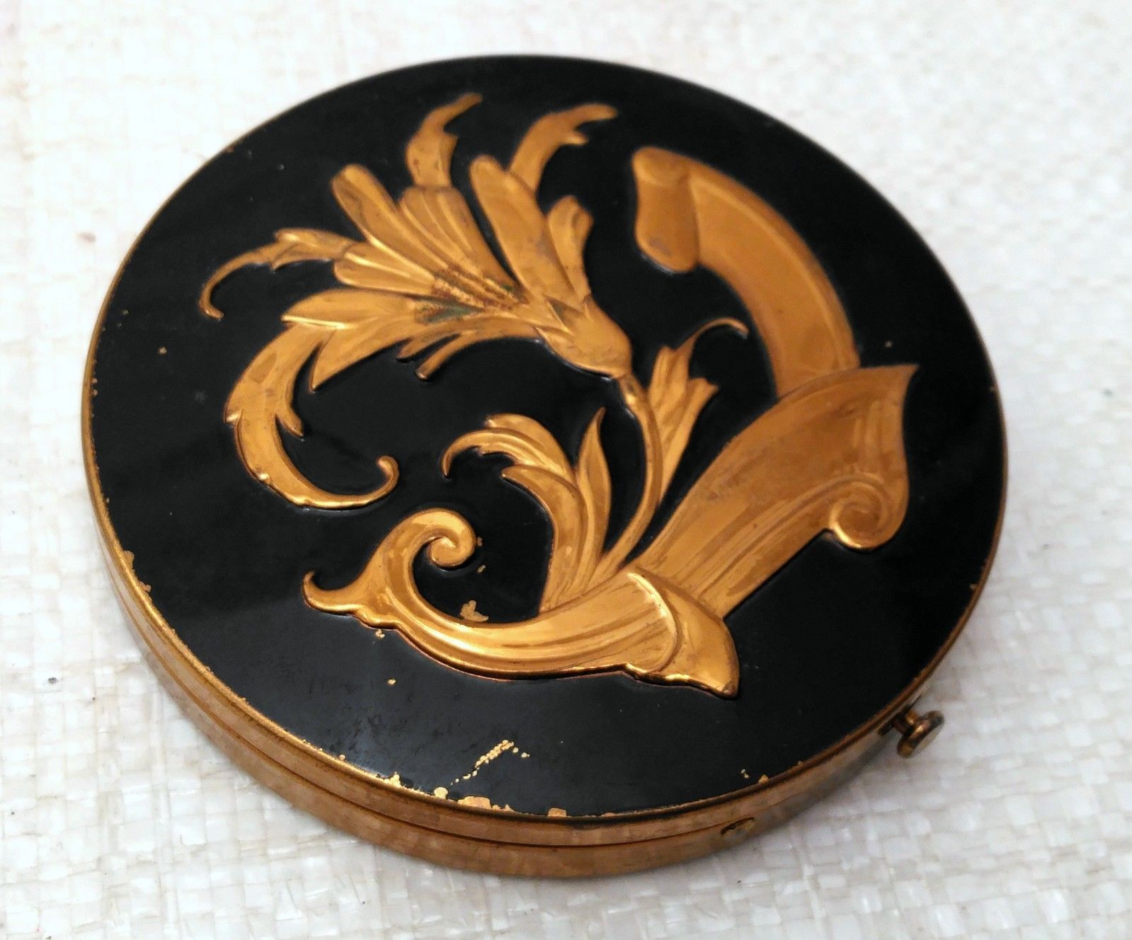 Vintage Mid-Century Powder Compact w/ Puff and Powder Screen