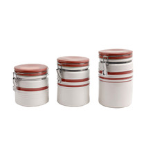Gibson General Store Hollydale 3 Piece Canister Set in White and Red Band - $46.09