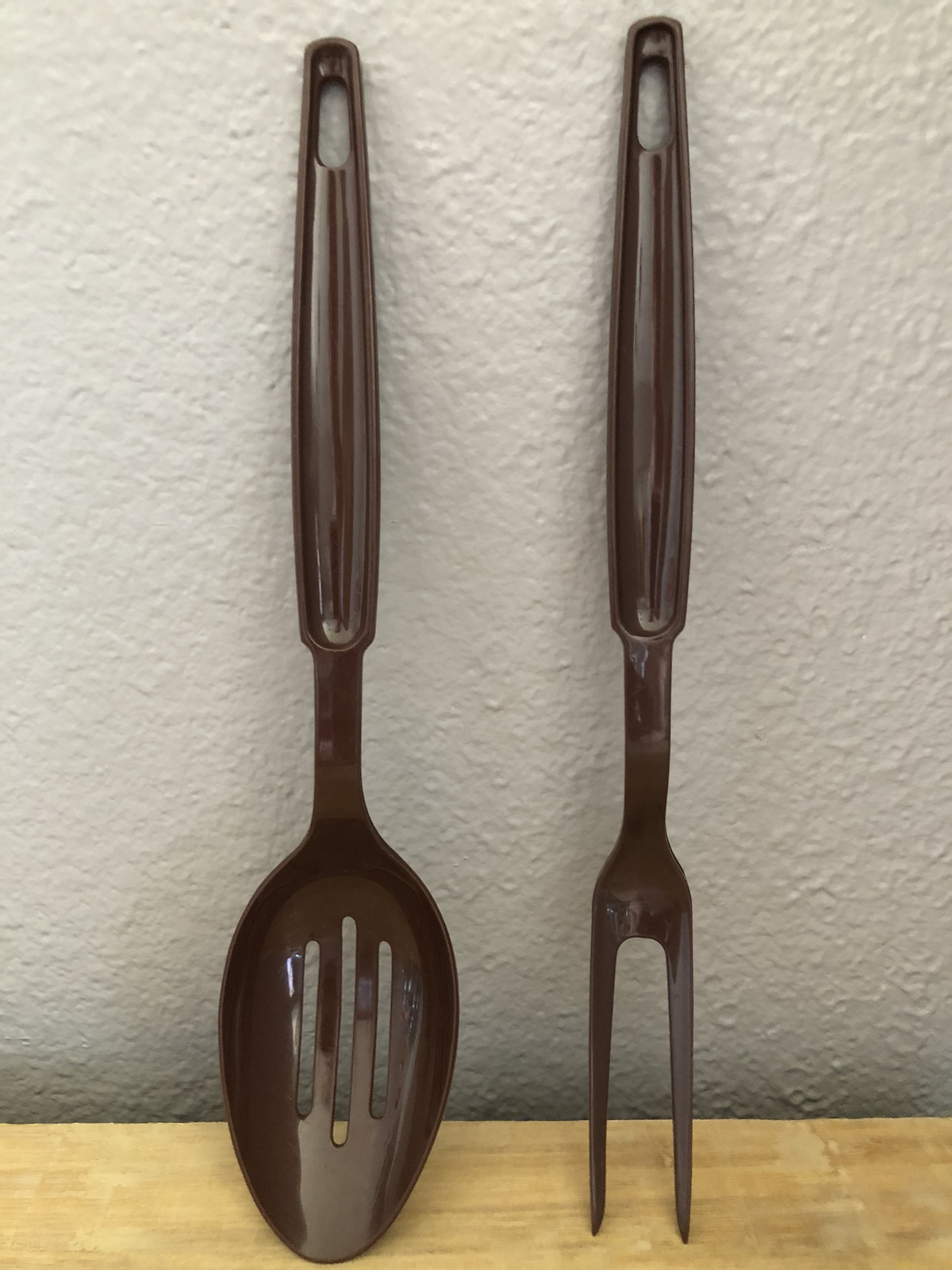 EKCO Vintage Brown Nylon Slotted Spoon & Serving Fork