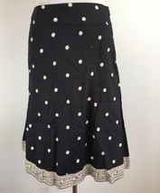 Gap Womens Skirt 6 Flare A Line Navy Blue Ivory Floral Border Below Knee Cotton - $17.09