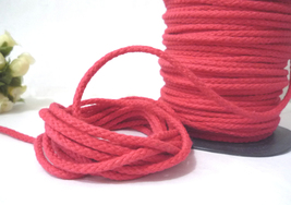 3.5mm wide - 10 yd Rose Red Braid Cotton Cord String Rope Drawstring CC61 - $7.99