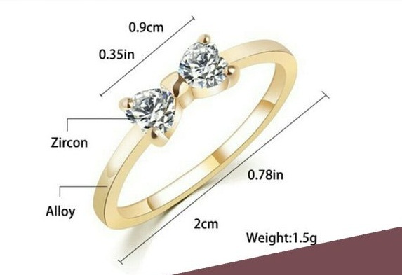 Bow Style Engagement Anniversary Ring Heart Shape CZ 14k Gold Plated 925 Silver