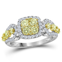14kt White Gold Womens Round Canary Yellow Diamond Cluster Ring 1-1/3 Cttw - £1,406.20 GBP