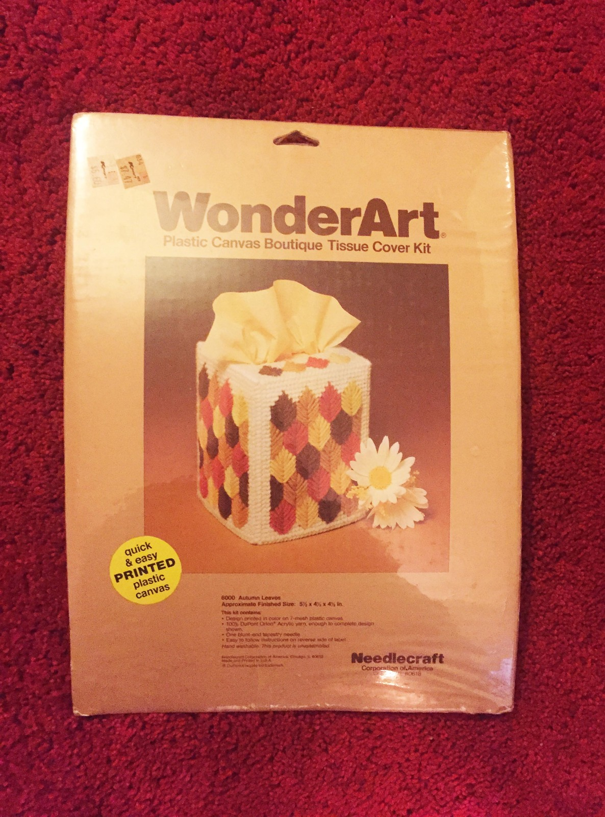 Vintage 70s WonderArt Plastic Canvas Tissue Cover Kit #6000 - by Needlecraft