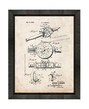 Fishing Reel Patent Print Old Look with Beveled Wood Frame - $24.95+