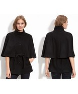 8 BETSEY JOHNSON Dark Gray Wool Blend Belted Capelet Jacket Coat - $79.19