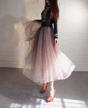 Rose Sparkle Tulle Skirt Long Tutu Glitter Skirt Rose Gold Sequin Party Outfit image 10
