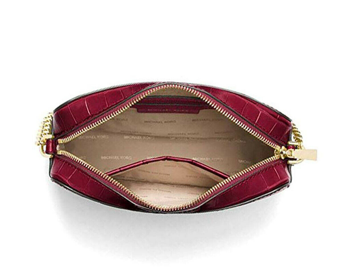 Michael Kors Ginny Croc Embossed Leather Crossbody Camera Bag Mulberry NWT $198
