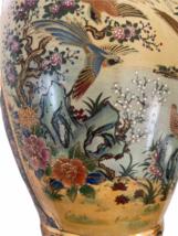 "Vintage 18"" Japanese Two Gold Gilt Handle Satsuma Vase Jug Japan Marked image 3"