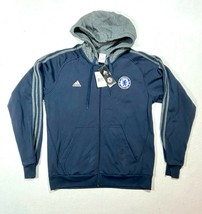 NEW Adidas Men's Chelsea Football Club Blue Gray Hoodie Sweatshirt - Size LARGE - $52.25