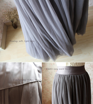 FULL GRAY Tulle Skirt Maxi Floor Length Skirt Women's Custom Bridesmaid Skirt image 5