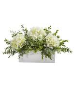 "15"" Hydrangea and Eucalyptus Artificial Arrangement in White Vase - $76.99"