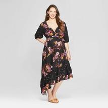 TARGET Isabel Maternity BLACK Floral Print Asymmetrical Hem Dress XXL - $24.00