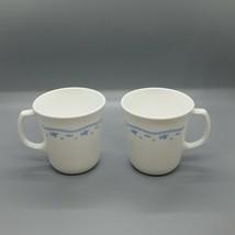 "2 Corning ""Morning Blue"" Coffee Mugs Blue White Flower M Wave OK USA Vintage - $7.37"