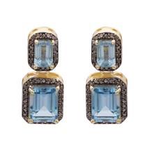 925 Silver Champagne Diamond & London Blue Topaz Women Wedding Yellow Ea... - $68.34