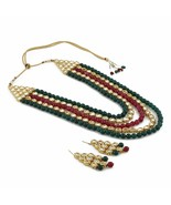 Multicolour Kundan Traditional Necklace Set/Jewellery Set with Earrings ... - $35.63